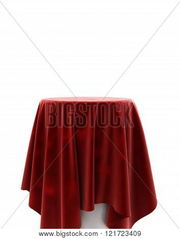 Red Velvet Cloth On A Round Pedestal Isolated