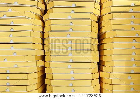 Background from pizza boxes in italian fast food restaurant