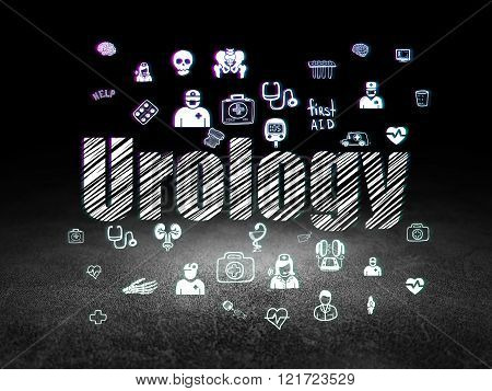 Medicine concept: Urology in grunge dark room