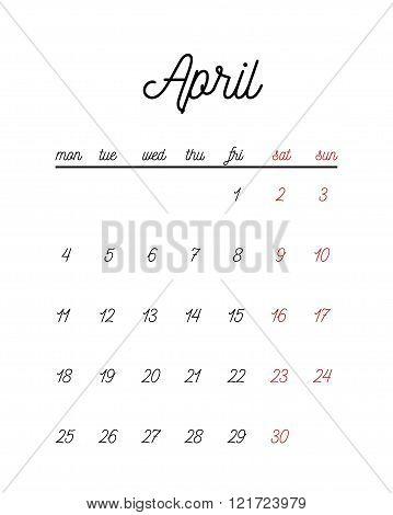 Minimal cute calendar template. Vector illustration for print or web.