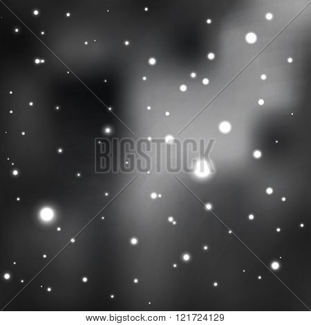 black and white star background. shades of gray. cluster of stars in the cosmic nebula. vector abstr