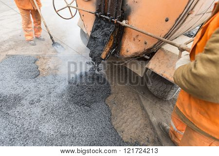 From construction emergency vehicles poured asphalt, road repair
