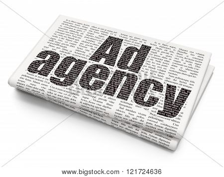 Advertising concept: Ad Agency on Newspaper background