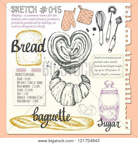 Food sketchbook with set of bread and sweet pastries.