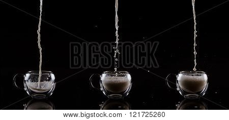 Set of three glass cups against black background. Filling glass cups with milk sequence.
