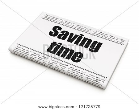 Time concept: newspaper headline Saving Time