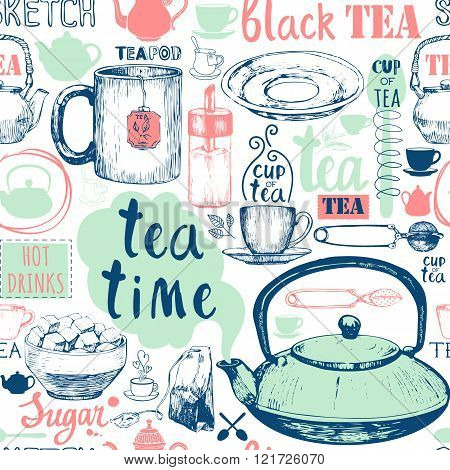 Seamless background with Tea Party symbols. Menu pattern.