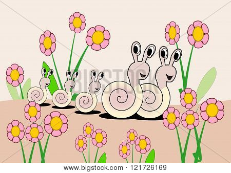Happy snail family, between lots of pink flowers.