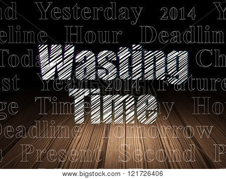 Timeline concept: Wasting Time in grunge dark room