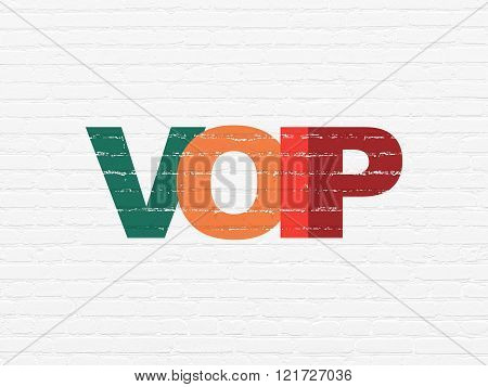 Web design concept: VOIP on wall background