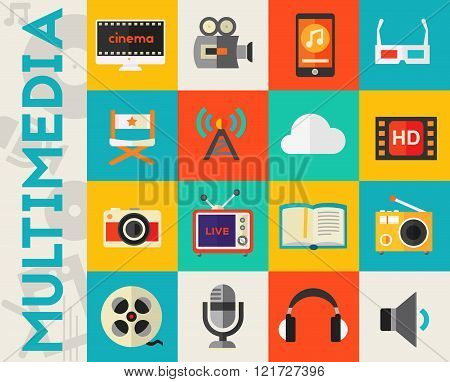 Detailed multimedia icon set