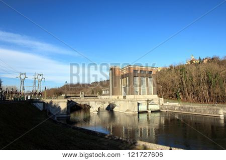 TORNAVENTO ITALY - FEBRUARY 21 2016: old hydro-electric power plant along Ticino river