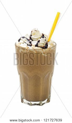 frappuccino with cream and sauce on white background