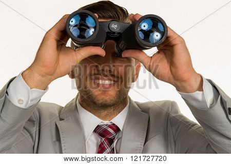 manager with binoculars