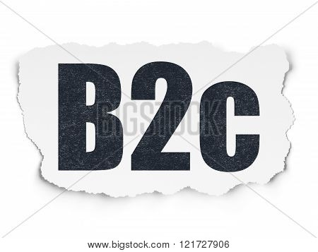 Business concept: B2c on Torn Paper background