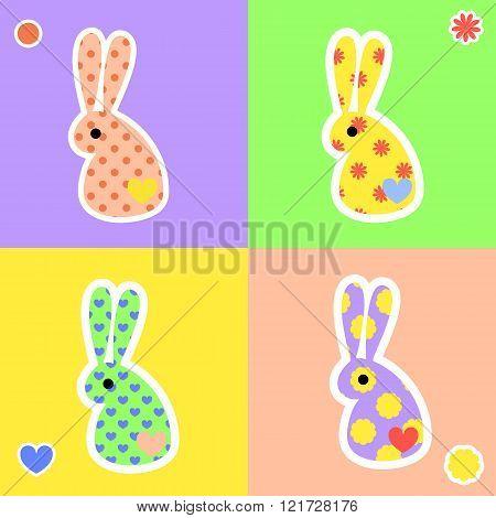 Bight rabbit shape stickers