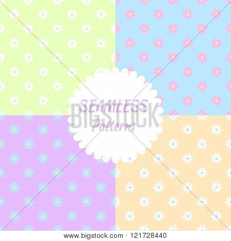 Seamless pattern with pastel colored camomile flowers