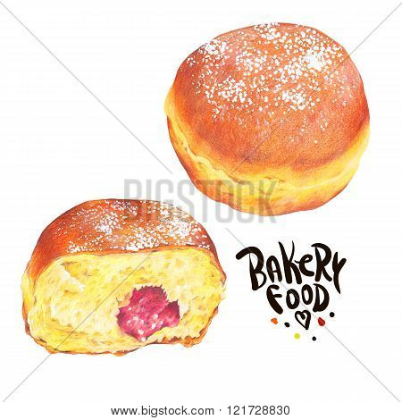 Hand drawn baking set isolated on a white background, donuts Ber
