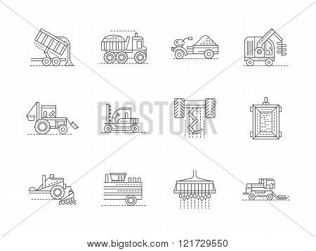 Agricultural machinery linear vector icons set
