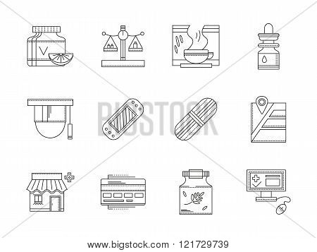 Pharmacy flat line vector icons set
