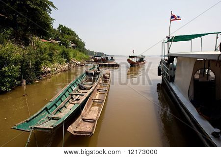 Boats on the river in the golden triangle, Laos