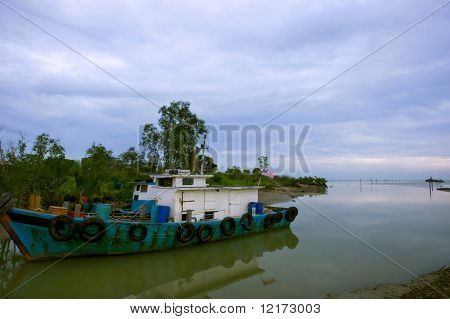 Fisherman boat in Malacca
