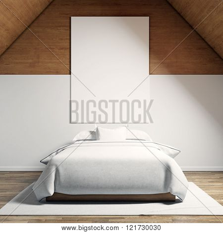 Photo of moder bedroom in chale house. Empty white canvas hanging on the wood wall and classic doubl