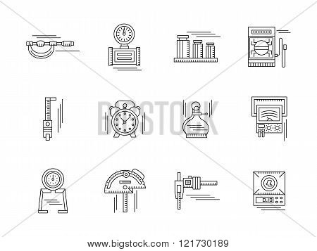 Metrology linear vector icons set