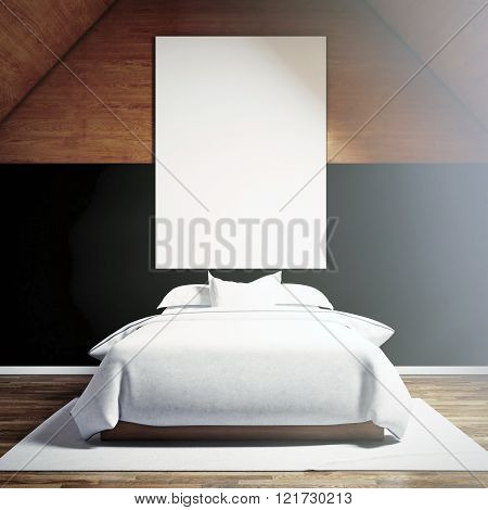 Photo of moder bedroom in chale house. Blank white canvas hanging on the wood wall and classic doubl