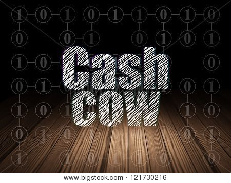 Finance concept: Cash Cow in grunge dark room