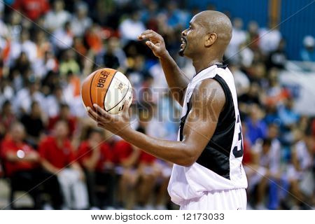 KUALA LUMPUR - JANUARY 05: KL Dragons' Jamal brown in action against Satria Muda BritAma at the ASEAN Basketball League match January 05, 2010 in Kuala Lumpur.