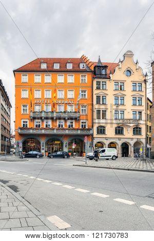 Germany Munich - MAR 12 : Hotel Torbrau in the old town on March 12 2012 in Munich Germany.