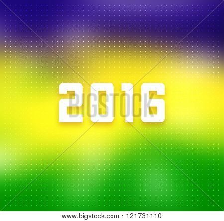 Brazil flag colors background with 2016 text