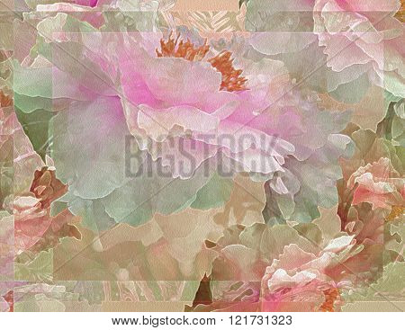 Floral Potpourri with Peonies, Pink and Green