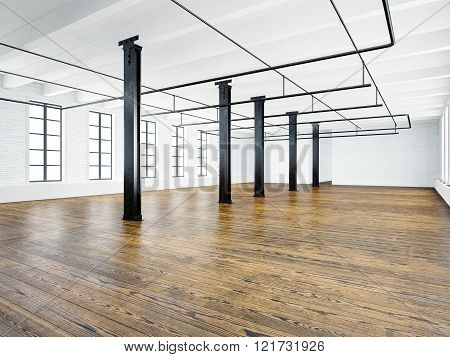 Photo of empty expo interior in modern building. Open space loft. Empty white walls. Wood floor, bla