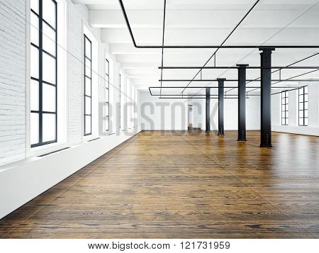 Photo of empty interior in modern building.Open space loft. Empty white walls. Wood floor, black bea
