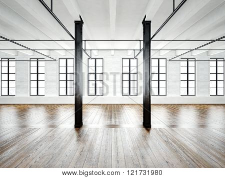 Photo of open space interior in modern loft. Empty white walls. Wood floor, black beams,big windows.