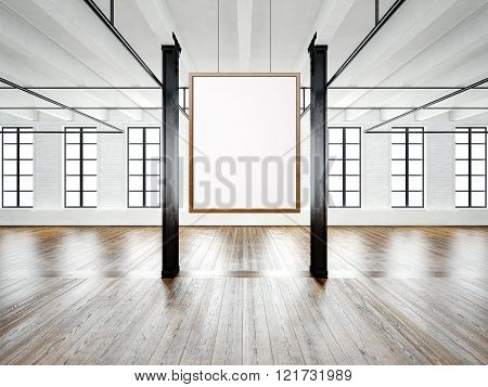Photo of empty interior in modern building. Open space loft. Empty white canvas hanging on the wood