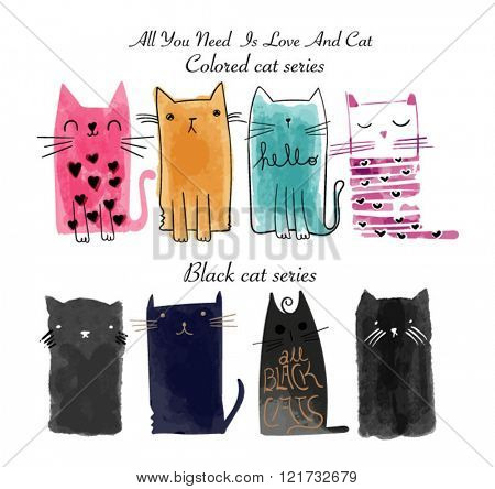 watercolor brush cat illustration set