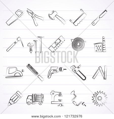 Carpentry, logging and woodworking icons