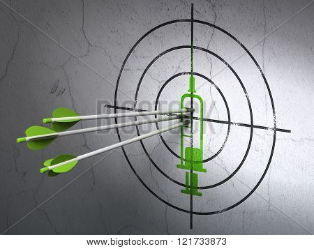 Healthcare concept: arrows in Syringe target on wall background