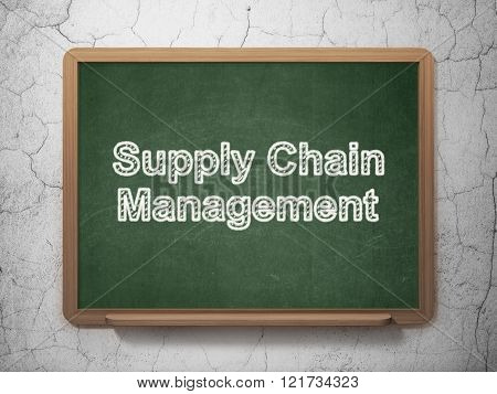 Advertising concept: Supply Chain Management on chalkboard background