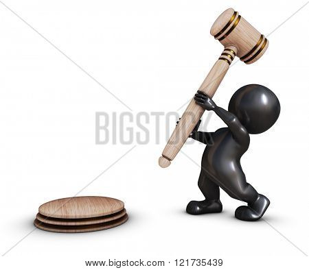 3D Render of Morph Man with gavel