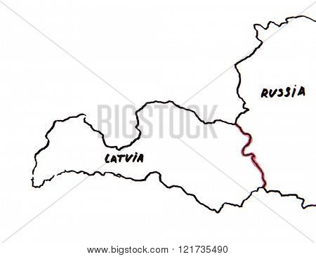Map of Latvia and Russia - territorial dispute concept