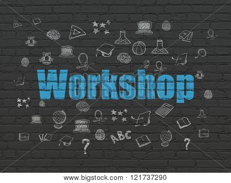 Studying concept: Workshop on wall background