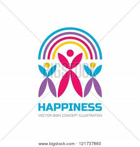 Happy Union - vector logo concept illustration. Human character logo. People logo. Abstract people.
