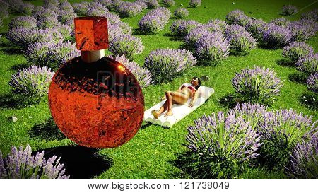 YOUNG WOMAN IN BLOOMING LAVENDER FIELD