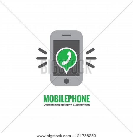 Mobile phone and green speach bubble with telephone handset - vector logo concept illustration.