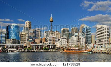 Sydney Darling Harbour with blue sunny sky