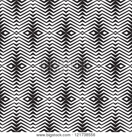 Abstract geometric background in black & white colors - seamless vector pattern in graphic illusion.